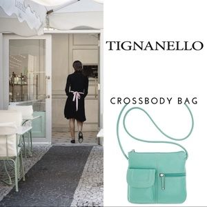 Teal Tignanello pebble crossbody handbag leather